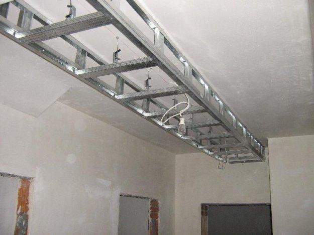 podwieszana półka z regipsu  z oświetleniem i podświetleniem