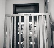 drewniana furtka dwuskrzydłowa przed schodami