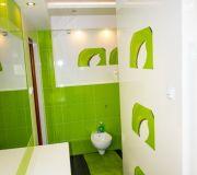 czarna podłoga zielono białe ściany biały sufit łazienka