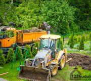 prace ziemne koparka, wywóz nadmiaru ziemi