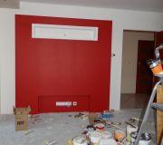 zabudowa telewizora na ścienie malowanie konstrukcji