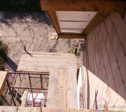 rusztowanie, deski rusztowanie pod dachem