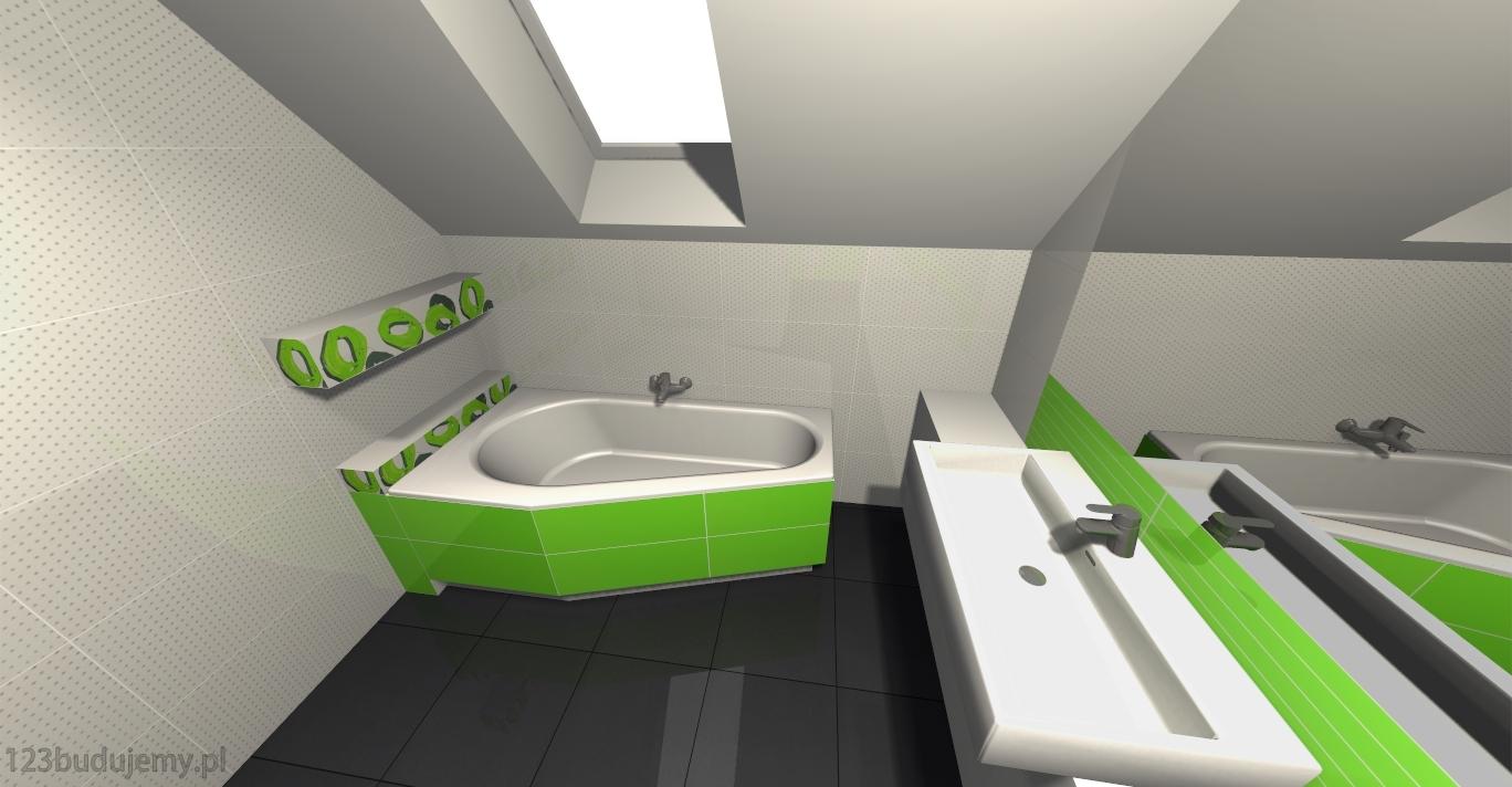 Aranżacjawizualizacjaprojekt łazienki Na Poddaszu 123budujemy