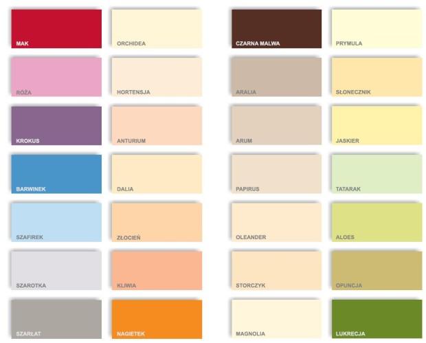 tabela kolorow BONDEX DYROTON 6