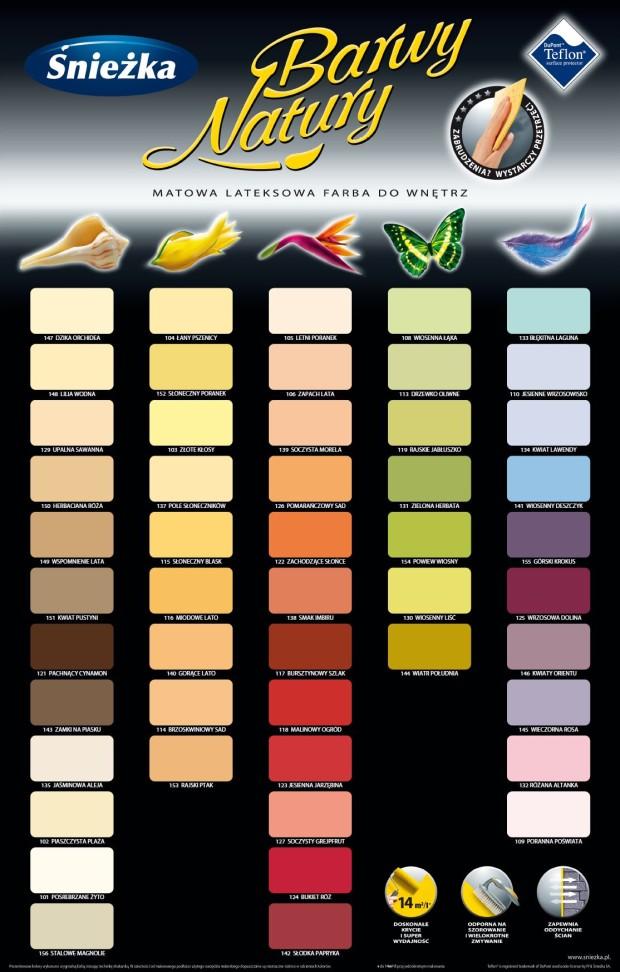 Emulsja ŚNIEŻKA Barwy Natury wiosenna łąka tabela kolorów