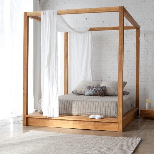 nowoczesne łóżko z baldachimem