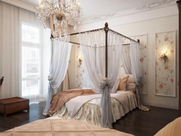 sypialnia i łóżko z baldachimem