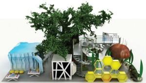 Sztuczne drzewo na wystawie interakcyjnej