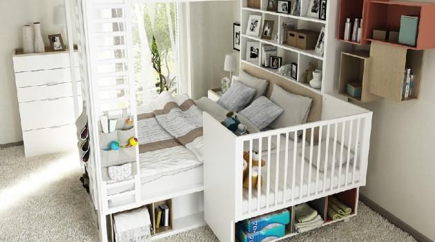 sypialnia rodziców z dzieckiem