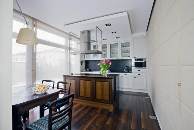 sufit podwieszany w kuchni z oświetleniem