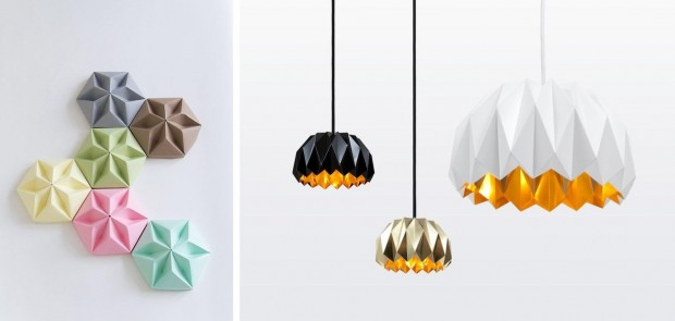lampy origami dodatki do wnętrz