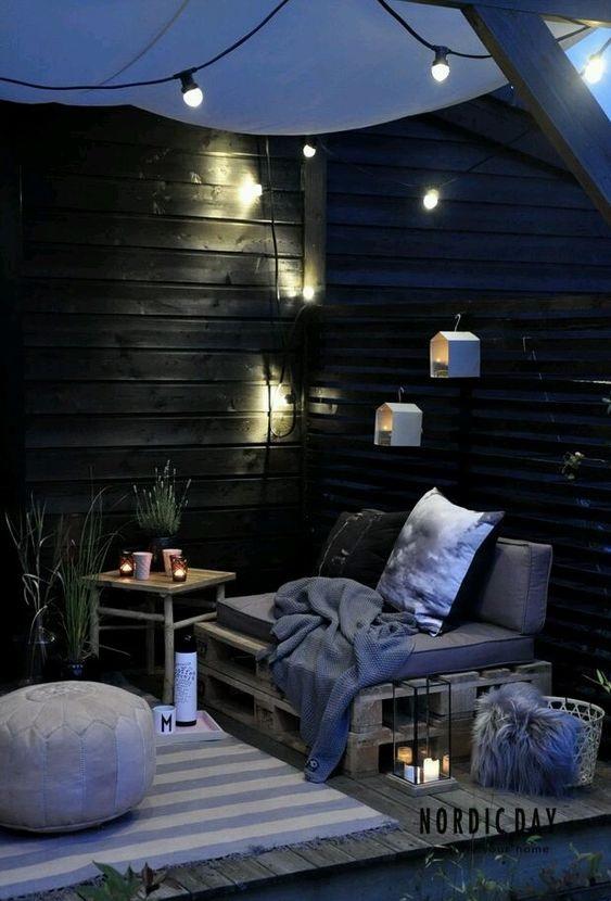 romantyczne oświetlenie tarasu
