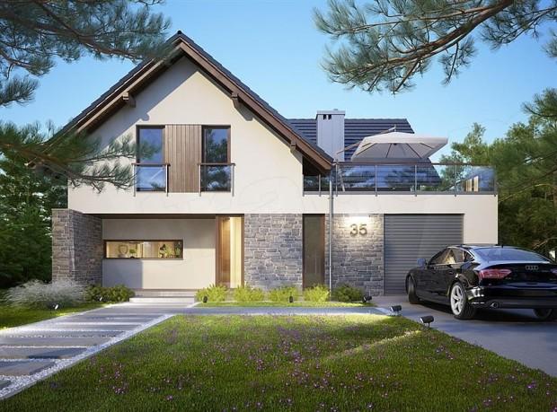 projekt domu z garażem i tarasem