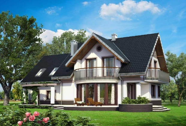 projekt domu z balkonem i garżem