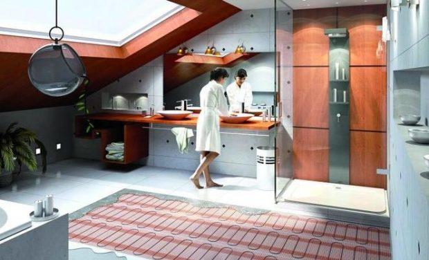 ogrzewanie podłogowe w łazience na poddaszu