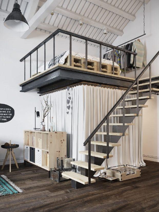 schody na antresole wysokie pomieszczenia