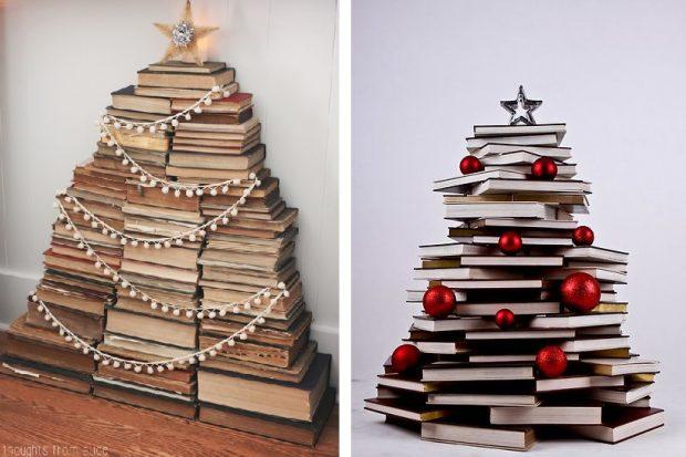 pomysł na choinkę z książek