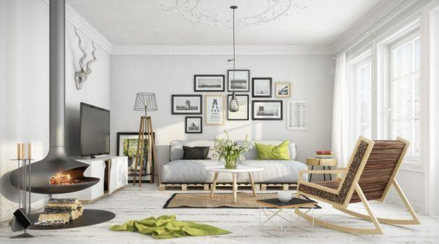 biała podłoga styl skandynawski