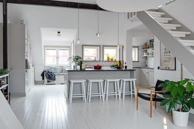 biała podłoga w stylu skandynawskim