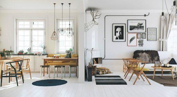 aranżacja podłogi białe wnętrza