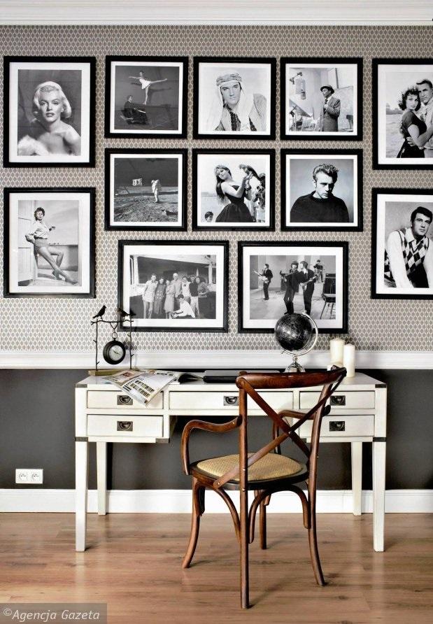 czarno białe zdjęcia na ścianie