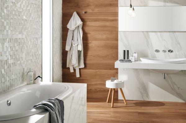 panele ścienne drewniane w łazience