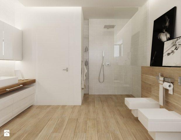 drewniane panele w łazience