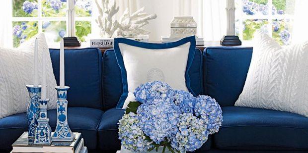 niebieskie meble białe wnętrza