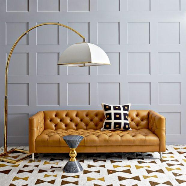 loftowa sofa koloru masła orzechowego