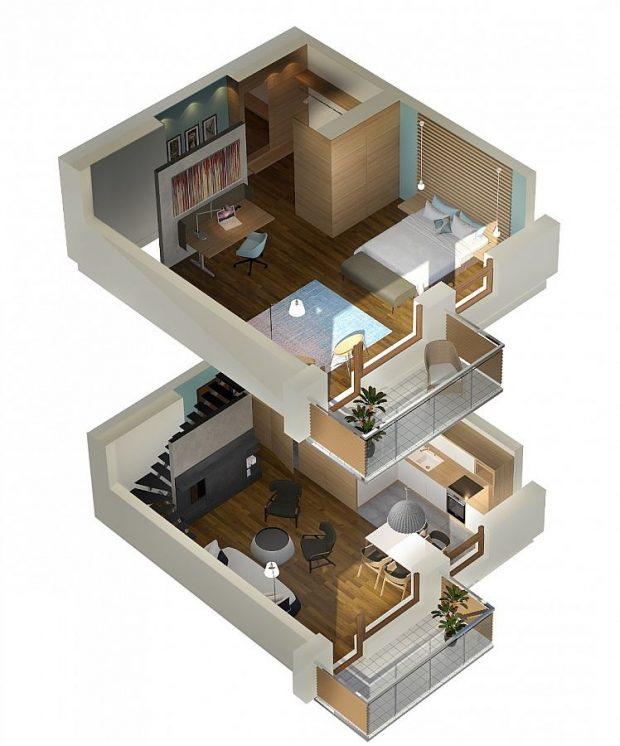 wizualizacja mieszkania dwupoziomowego