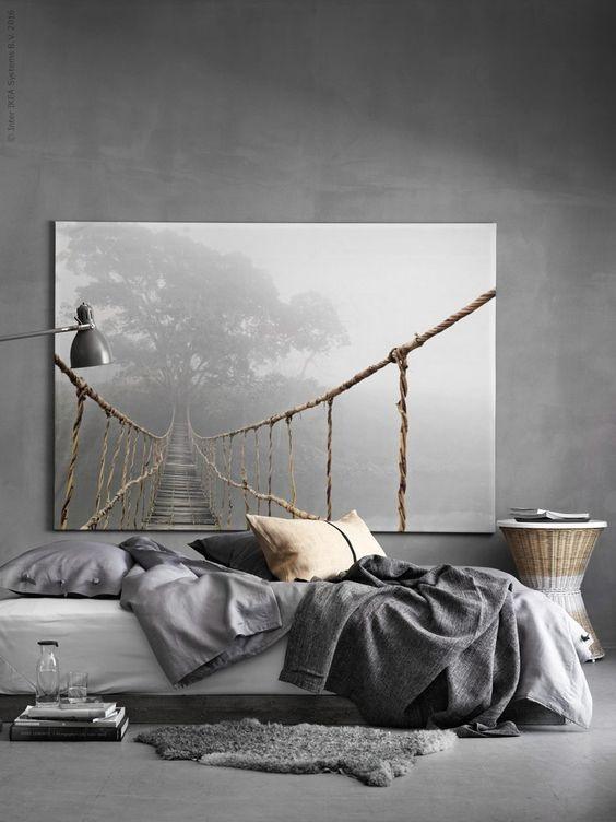 minimalistyczny wystrój sypialni odcienie szarości