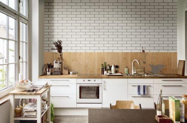 Płytki klinkierowe biała cegła kuchnia