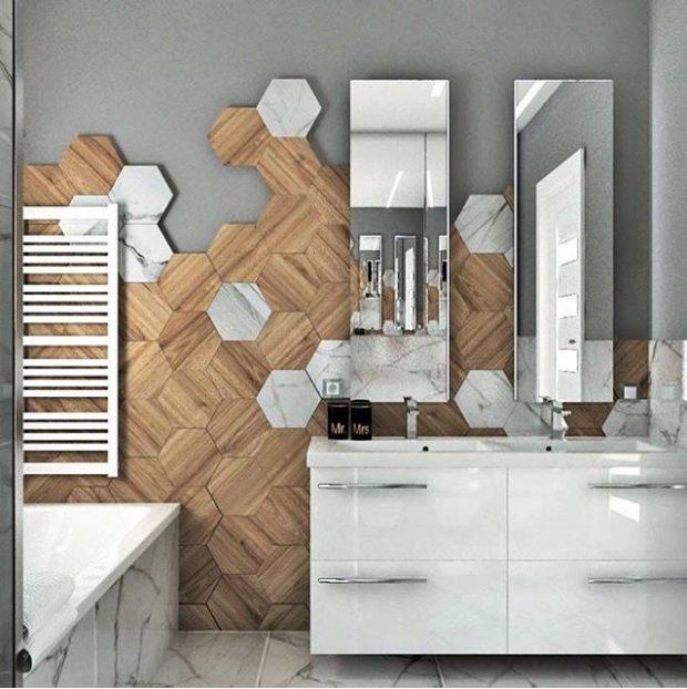 płytki na ścianie drewnopodobne plaster miodu