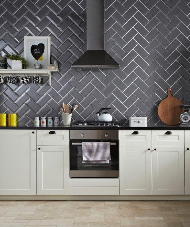 płytki na ścianie w kuchni wzory