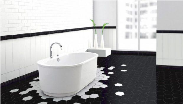 biało czarna podłoga w łazience plaster miodu