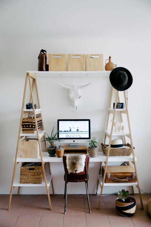 biurko z półkami aranżacja
