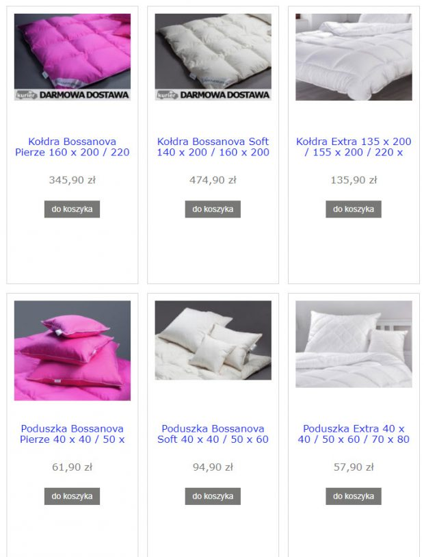 sklep kołdry poduszki