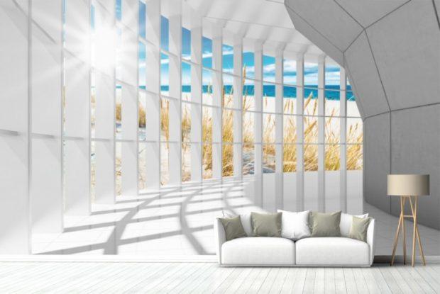 Nawet w niewielkim salonie, tapeta 3D z widokiem plaży, powiększy pokój