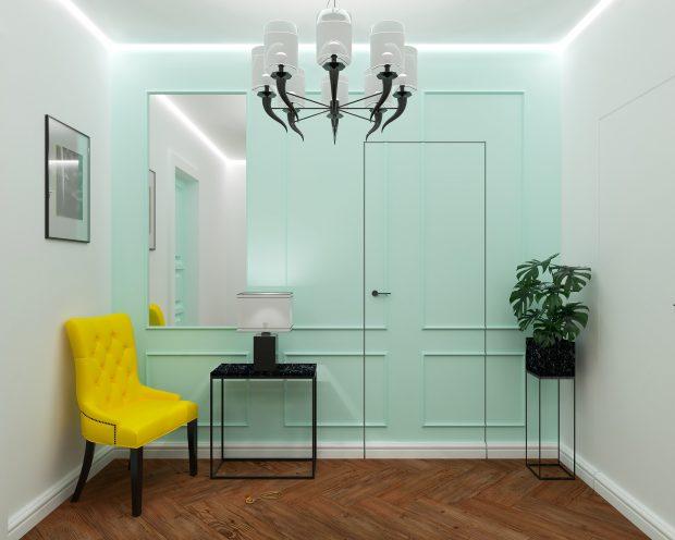 zlicowane drzwi z białą ścianą na korytarzu