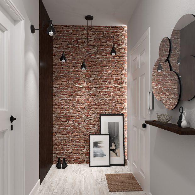 cegła na ścianie w przedpokoju