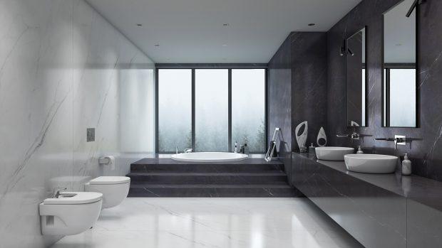 płytki wielkoformatowe w salonie kąpielowym