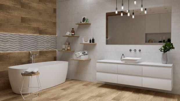 Aranżacja łazienki w bieli i brazie