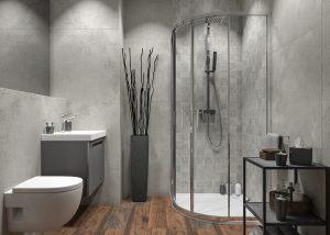 Beton w łazience w aranżacji kolekcji Opoczno Grand Wood Quenos