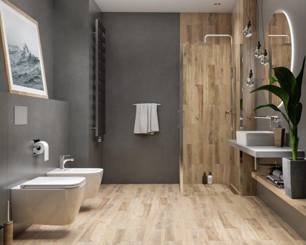 Płytka drewnopodobna w aranżacji łazienki
