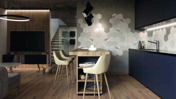 płytki heksagonalne na ścianie w kuchni